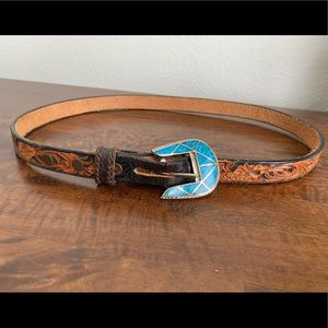 Tooled leather belt w/ silver and turquoise buckle